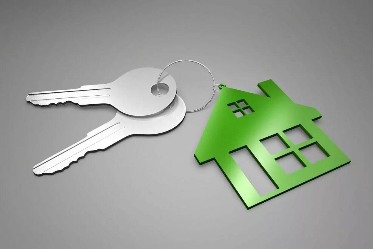 duas chaves com chaveiro em formato de casa verde