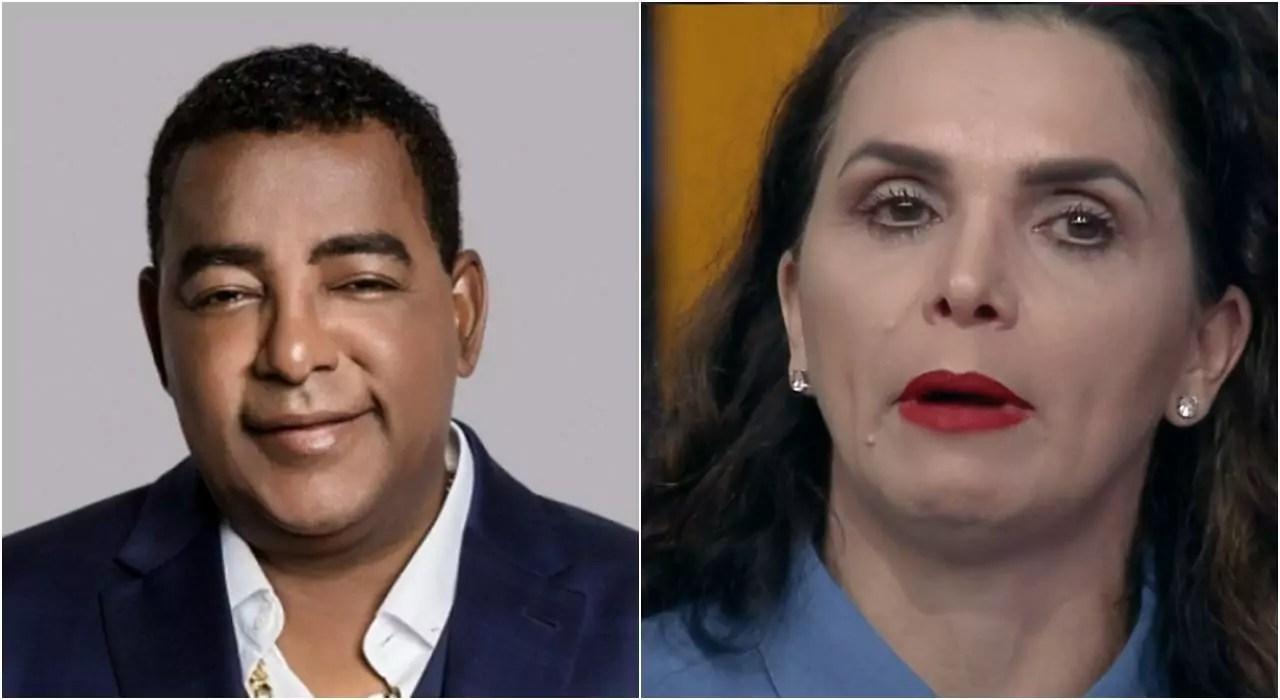 Imagem do cantor Luiz Carlos do Raça Negra e de Luiza Ambiel em A Fazenda 12