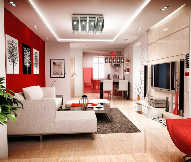 sala neutra com tons vermelhos