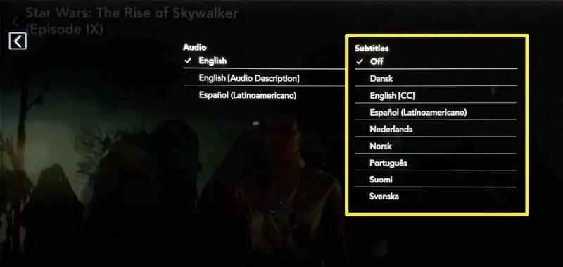 Tela do Disney+ para troca de idioma