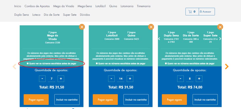 A imagem mostra um círculo destacando a opção de ver os números das apostas do combo de apostas da Mega da Virada 2020