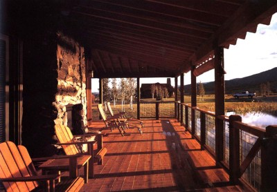Covered  Cabin Porch Overlooking Lake