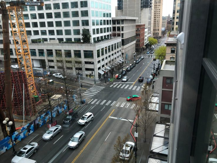 Aerial view of First Avenue in downtown Seattle