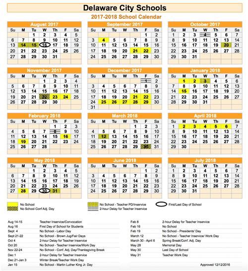 2018 calendar school