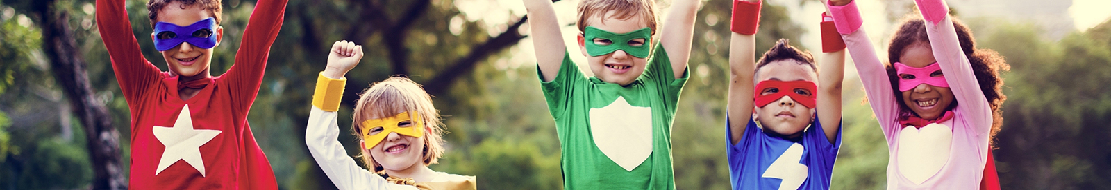 young kids dressed as superheros
