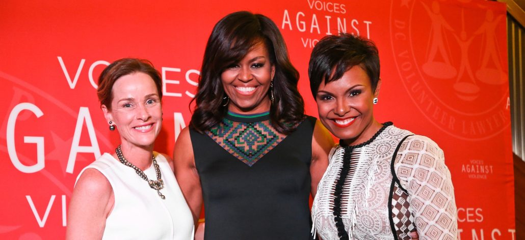 Kathleen Biden, Michelle Obama and Tisha Hyter at Voices Against Violence on April 20, 2016