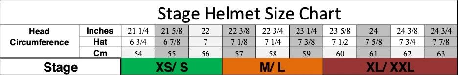 Stage Helmet Size Guide; TLD Stage Helmet Size