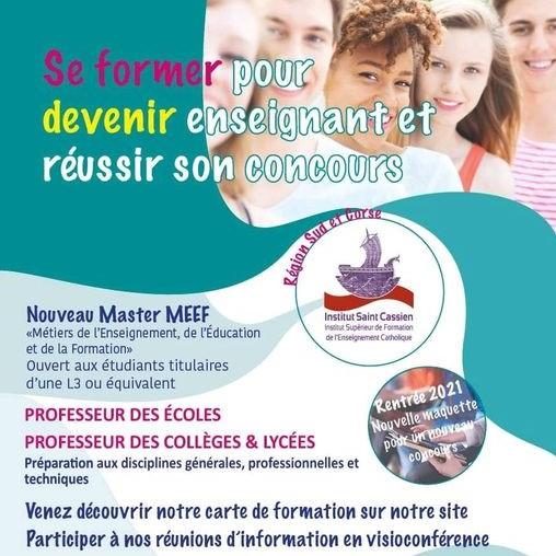 Réunion d'information : Se former avec le nouveau Master MEEF de l'ISFEC Saint Cassien.