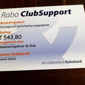 Rabo ClubSupport cheque 2020