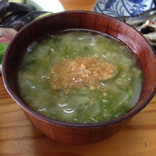亜麻仁パウダー味噌汁
