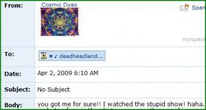 Gotcha!  The Dead on American Idol - someone watched!