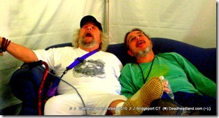 Wavy Gravy and David Gans - exhausted after day three of Gathering of the Vibes!