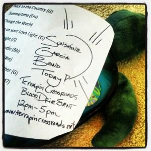 Sunshine Garcia Band setlist from 2012 Terrapin Blood Drive