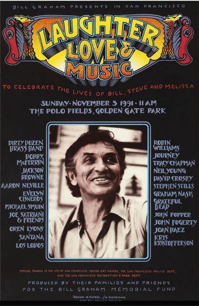 VIDEO: November 3rd 1991 – Bill Graham Memorial – Laughter Love and Music