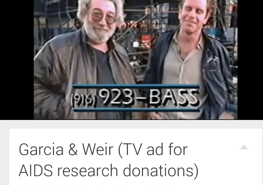 Grateful Dead 1989: Jerry Garcia,  Bob Weir, Aids fundraising commercial and concert, Grateful Dead – May 27 1989