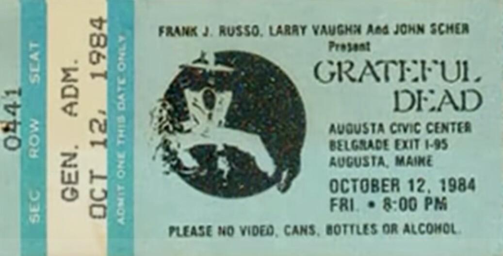 VIDEO (full show) Grateful Dead 10-12-84 Augusta ME Civic Center