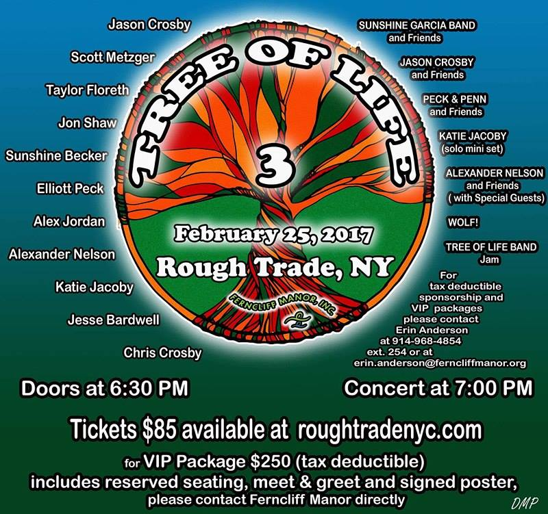 Third Annual Tree Of Life Benefit, Feb 25 2017 feat. Scott Metzger, Sunshine Becker, Jason Crosby, Elliot Peck, Katie Jacoby, Alexander Nelson, Alex Jordan, Chris Crosby and more!
