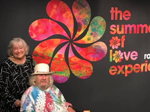 Jahanara Romney, Wavy Gravy, visit the Summer of Love Experience at the de Young Museum in San Francisco