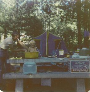 More camping with Mom and Dad, 1977-ish. Camp bathing was much easier at that age.