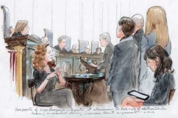 Artist rendering of U.S. Supreme Court justices swearing DHHBA attorneys into the SCOTUS bar.