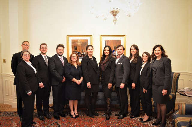 11 individuals stand in a line in a formal room, wearing business attire in black and grey colors.