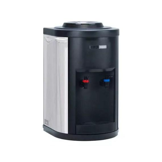 Dispensador de agua con botella de sobremesa con acabado en negro y gris metalizado