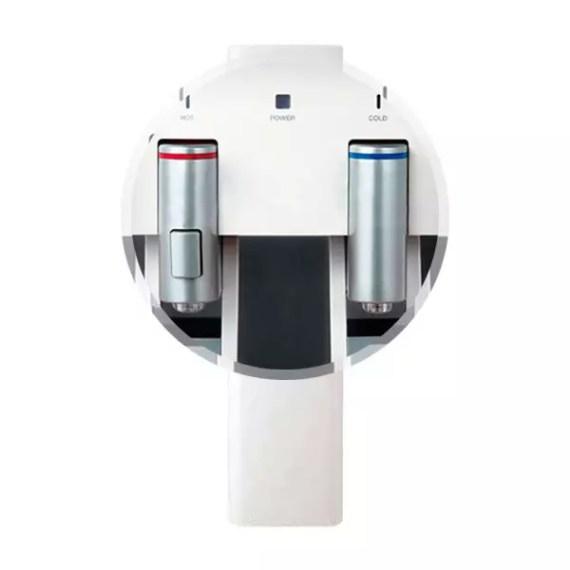 Plano detalle de los surtidores de agua fría y caliente del dispensador de agua Columbia FC-800