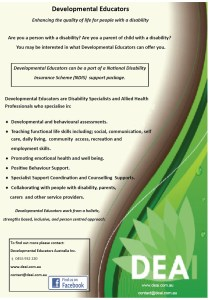 Flyer for parents and people with disability