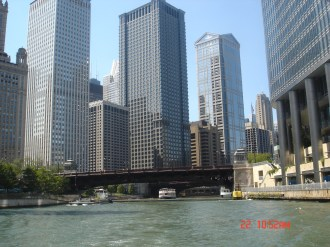 View down the Chicago River aboard the Chicago River Taxi