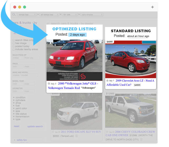 Optimized Craigslist Listings Are Shown At The Top Of The SRP