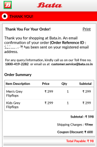 bata app Rs 500 off order placed