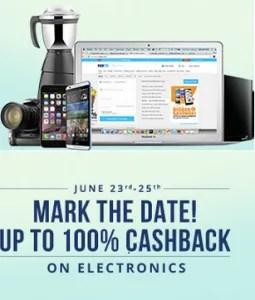 paytm 100% cashback sale on electronics 23rd june