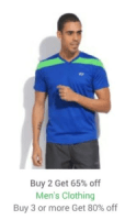 Flipkart Loot on App – Buy Clothing products, get 80% off on buying 3 (6 T-Shirts at Rs 538 only)