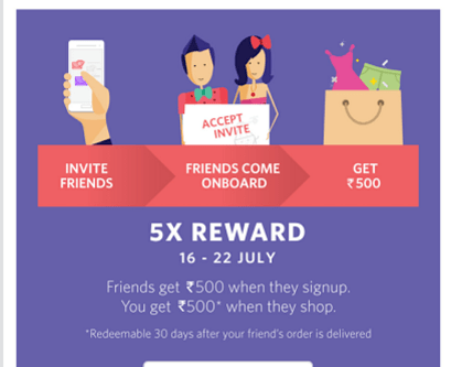 myntra refer and earn 500 points 16-22 july