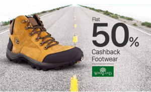 (Suggestions Added) Paytm- Get Woodland Footwear at flat 50% cashback