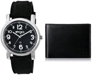 Amazon Loot - Buy Maxima Ego Analog Black Dial Men's Watch with Wallet and a Greeting Card Combo at just Rs 559 only