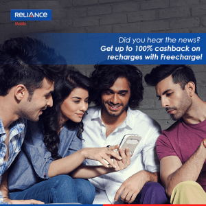 Freecharge- Get 100% Cashback on Reliance Prepaid CDMA Recharge (Max Rs.70)