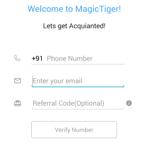 magictiger app register for a new account and earn Rs 50