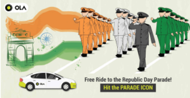 Ola Republic Day Offer – Hit the 'Parade' icon and get free ride to Parade Ground on 26th Jan ( Delhi only)