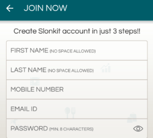 slonkit create a new account