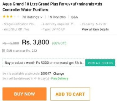 Snapdeal - Aqua Grand 10 Ltrs Grand Plus Water Purifier at Rs 3800 only