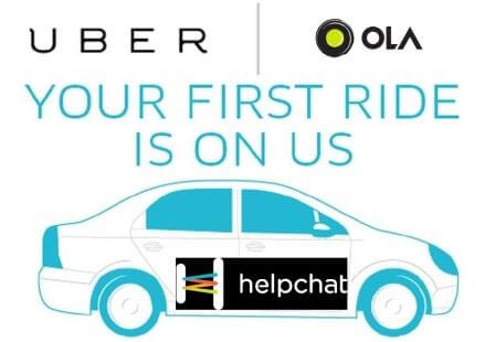 Helpchat- Get flat 50% Cashback on first three Ola or Uber Cab Rides