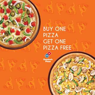 Dominos Pizza- Buy 1 get 1 FREE Pizza + Extra 20% cashback via ICICI Pockets