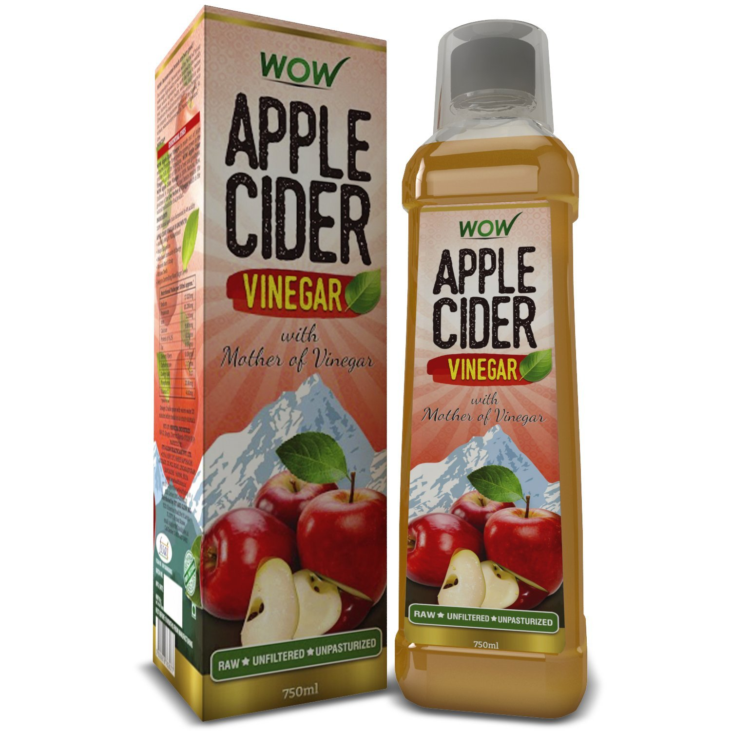 Amazon - Buy Wow Apple Cider Vinegar - 750 ml (Pack of 1) at Rs 225 Only + Free Delivery