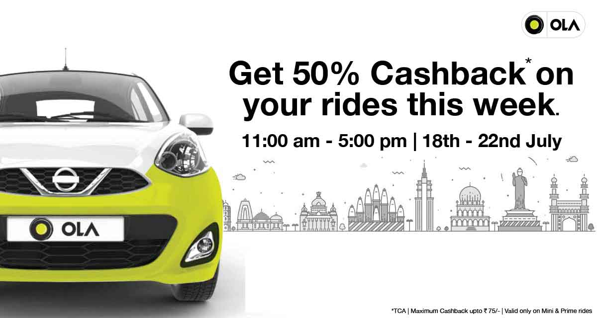 Ola Cabs- Get flat 50% cashback on your Ola Mine & Prime rides this Week