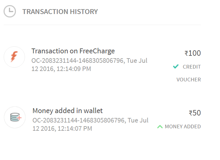 freecharge add Rs 50 and get Rs 100 free proof