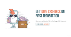 Freecharge- Get Flat 100% Cashback on First Recharge Bill Payments