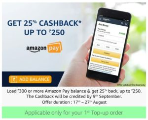 Load Rs.300 or more Amazon Pay balance to get 25% cashback