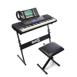 RockJam RJ561 61 Keys Electronic Keyboard SuperKit, Black, with Stand, Stool, Headphones and Power Supply