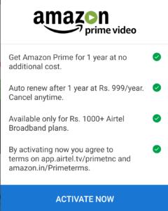 Airtel- Get Free Amazon Prime